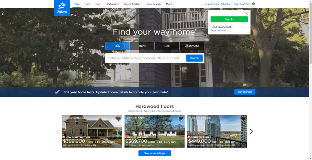 Zillow.com website photo