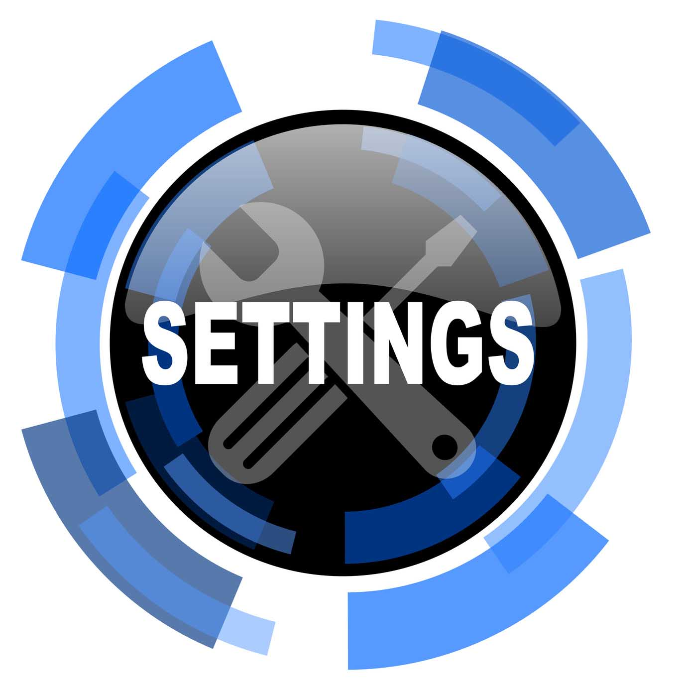 settings black blue glossy web icon
