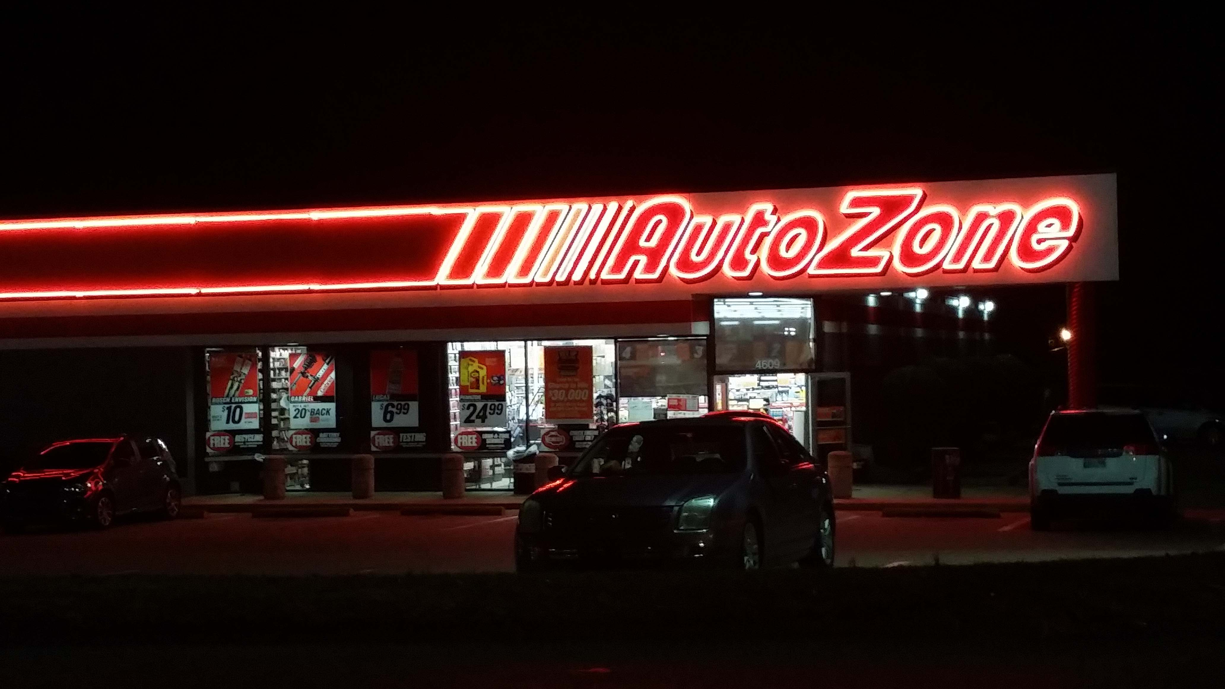Autozone Viewed At Night